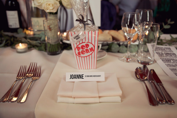 Chic City Film Wedding Popcorn Place Setting http://marthaandgeorge.com/
