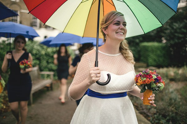 Multicoloured London Quirky Wedding Umbrella Rainy http://www.kat-hill.com/