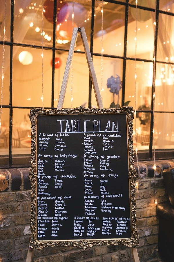 Multicoloured London Quirky Wedding Blackboard Table Plan http://www.kat-hill.com/