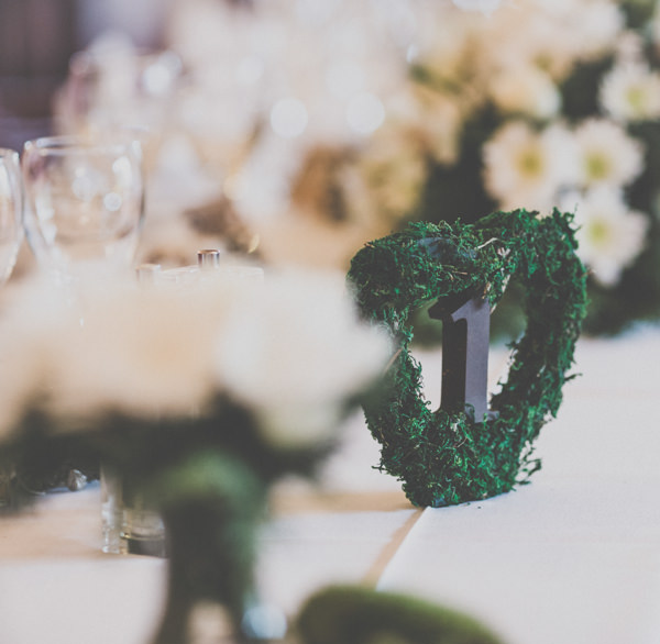 Earthy Cosy Kent Wedding Moss Table Numbers http://www.katehennessyphotography.com/