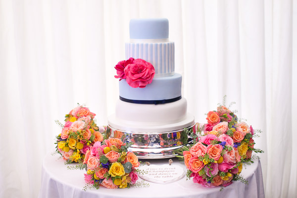 Colourful Fun Candy Wedding Blue Stripe Cake http://www.julietteharrison.co.uk/