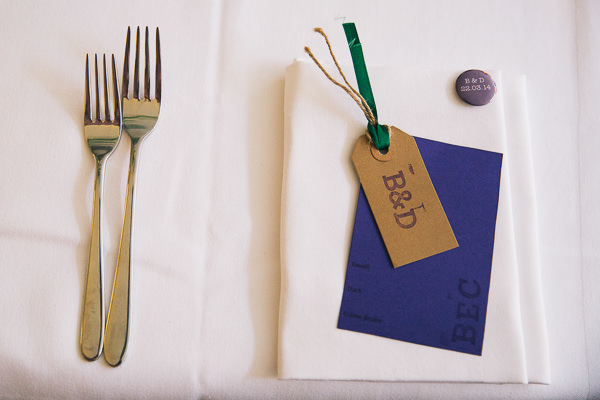 Simple Homemade Green & Purple Wedding Luggage Tag Place Name http://www.robdodsworth.co.uk/