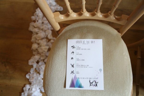 Woodland Animal Barn Wedding Stationery Order of the Day http://www.rebeccaprigmorephotography.com/