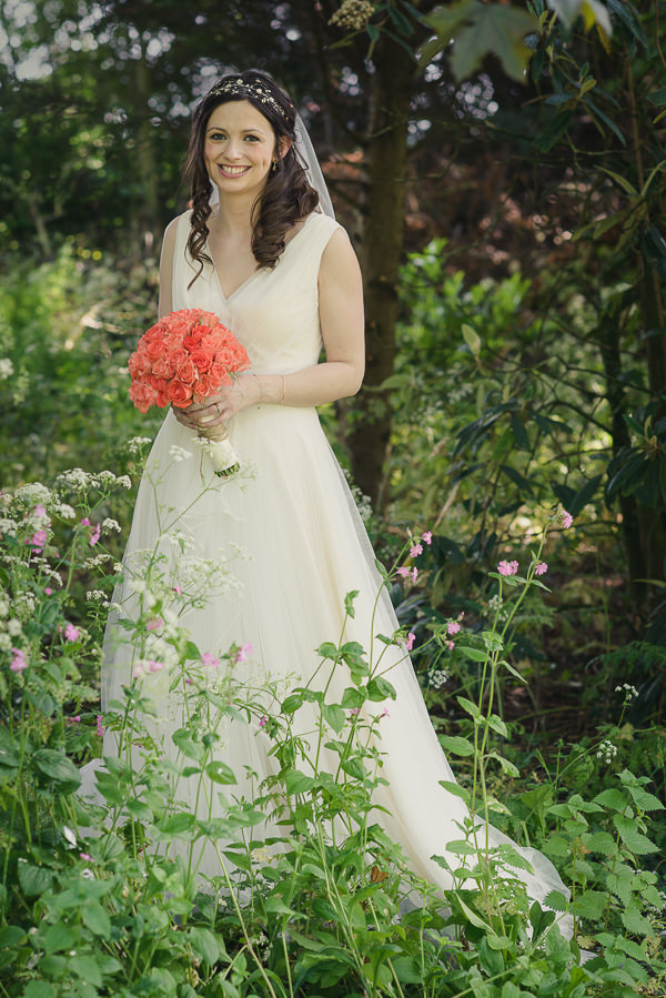 Nerine by Jenny Packham Bride Dress Coral & Green Rustic Wedding http://www.riamishaal.com/