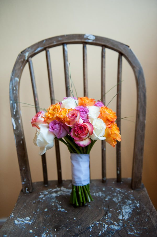 Multicoloured Pom Pom Lido Cafe Wedding DIY rose bridal bouquet http://fionasweddingphotography.co.uk/
