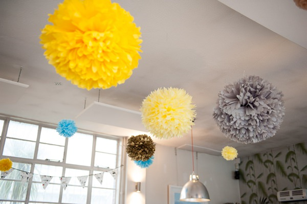 Multicoloured Pom Pom Lido Cafe Wedding http://fionasweddingphotography.co.uk/