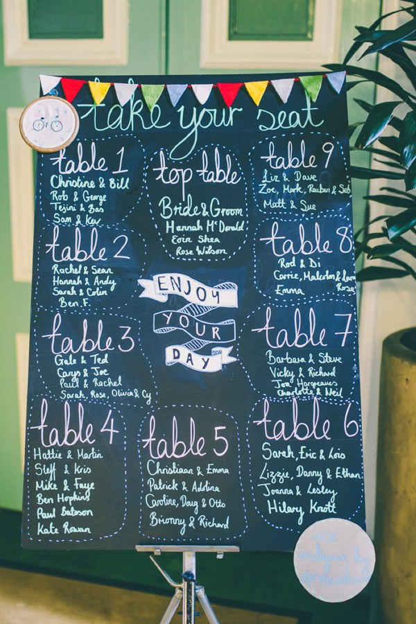 Crafty Hand Sewn Vintage Wedding Blackboard Table Seating Plan http://www.njphotographic.co.uk/