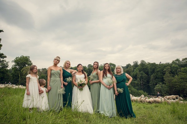 Country Barn Wedding Green Mismatched Bridesmaids http://assassynation.co.uk/