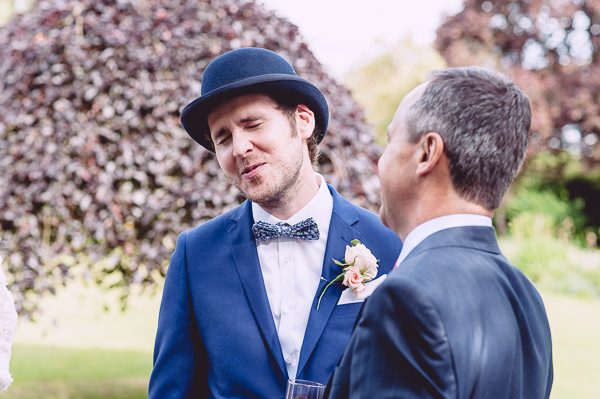 Marie Antoinette Pink Wedding Bowler Hat Bow Tie Groom http://www.annapumerphotography.com/