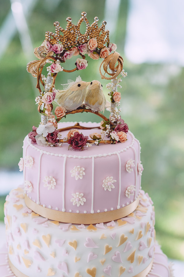 Marie Antoinette Pink Gold Wedding Opulent Cake Birds Topper http://www.annapumerphotography.com/