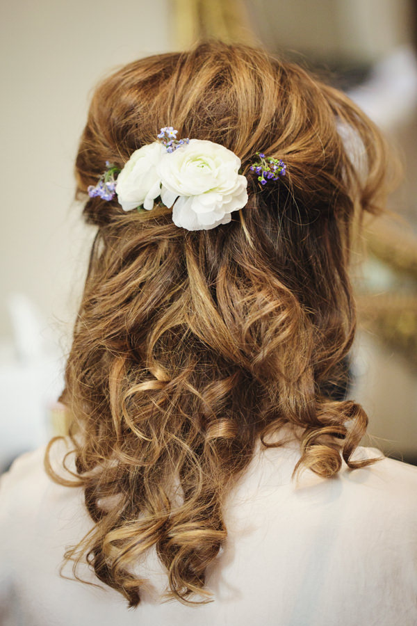 Dinner Party Midsummer Night's Dream Wedding Bride Hair Half Up Down Flowers Style http://www.gemmawilliamsphotography.co.uk/