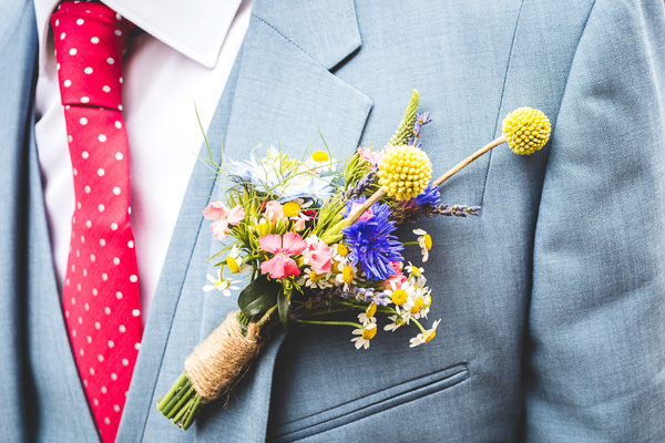 Colourful Garden Tipi Wedding Groom Buttonhole Rustic http://www.jacksonandcophotography.com/