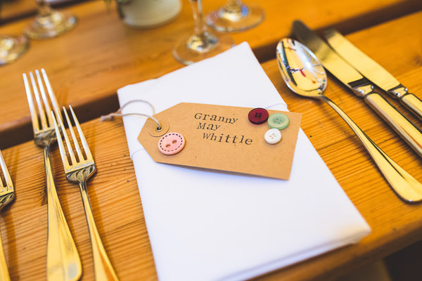 Colourful Garden Tipi Wedding Luggage Tag Stamped Button Place Names http://www.jacksonandcophotography.com/