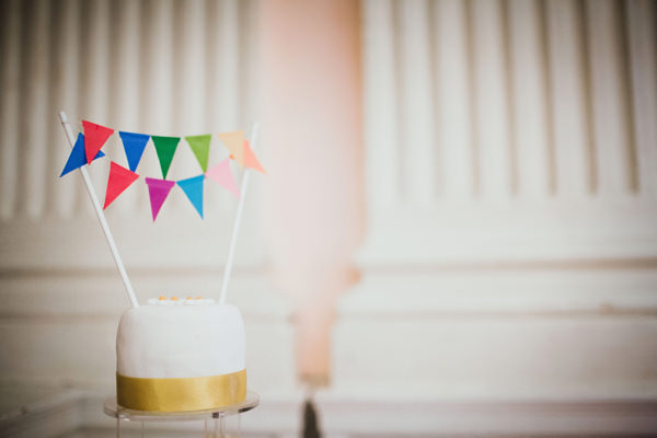 Eclectic Quirky Wedding Rainbow Bunting Cake Topper http://www.claudiarosecarter.co.uk/