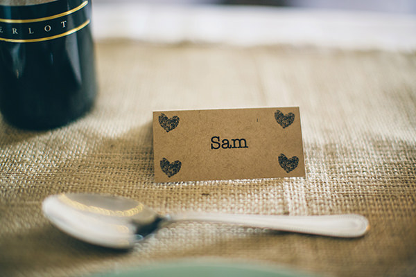 1950s Spring Village Fete Wedding Kraft Paper Place Names http://www.lifelinephotography.co.uk/
