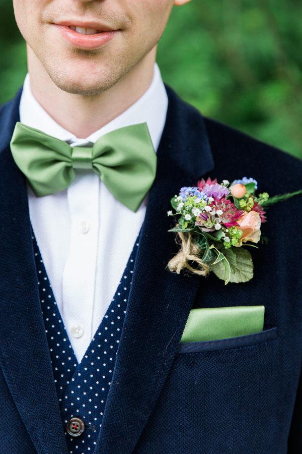 Whimsical Woodland Fairytale Wedding Bow Tie Groom Buttonhole http://www.lisadawn.co.uk/