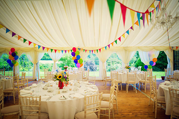 Multicolour Homemade Wedding Marquee Bunting Balloons http://www.photographybyvicki.co.uk/blog/