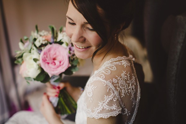 Stylish Rustic Barn Wedding Lace Back Dress http://www.lolarosephotography.com/