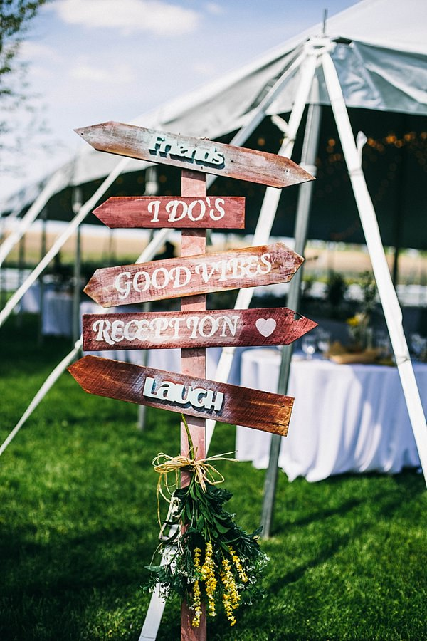 Indie Barefoot Farm Wedding Rustic Wooden Sign http://jackandhannah.com/
