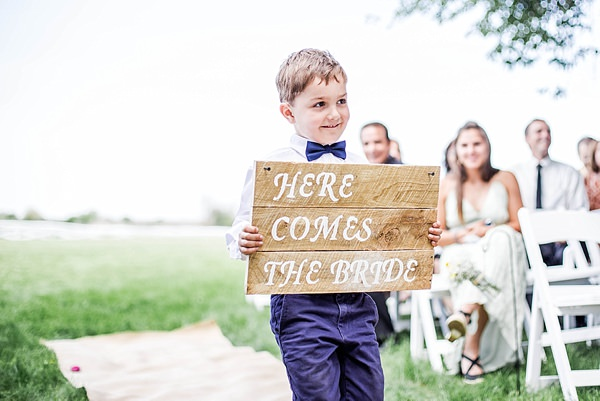 Indie Barefoot Farm Wedding Here Comes the Bride Sign http://jackandhannah.com/