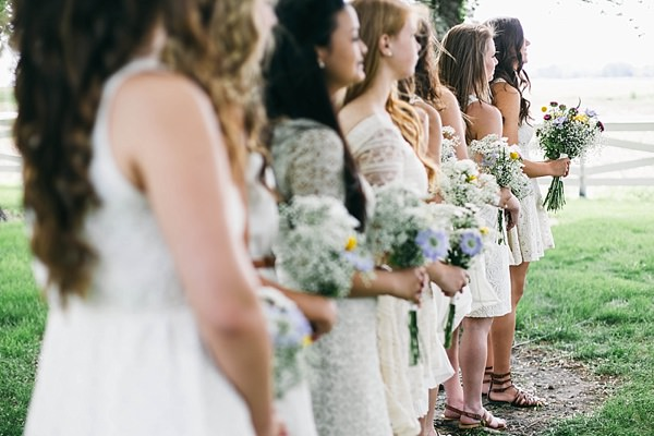 Indie Barefoot Farm Wedding Mismatched Bridesmaids http://jackandhannah.com/