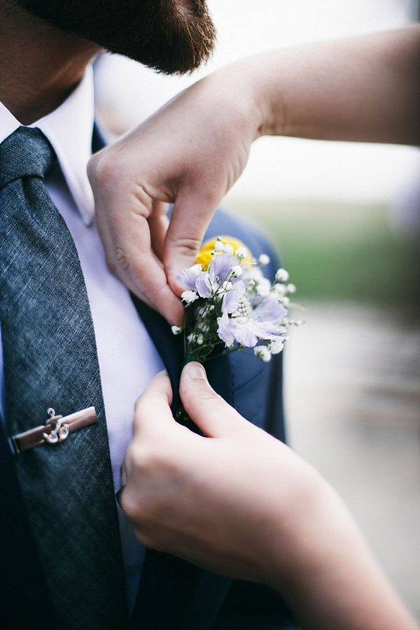 Indie Barefoot Farm Wedding Groom Buttonhole http://jackandhannah.com/
