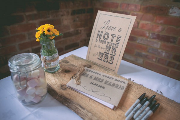 Country Rustic Yellow Barn Wedding Log Guest Book http://www.sophieduckworthphotography.com/