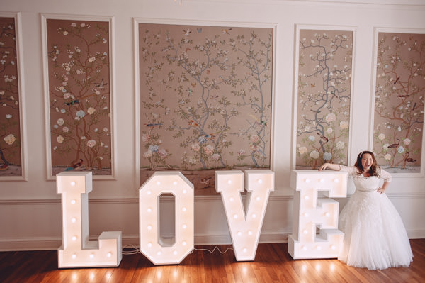 Love Letter Lights Bright Light Peach Wedding http://www.annapumerphotography.com/