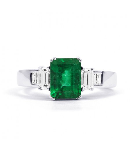 AIKO 18CT WHITE GOLD EMERALD AND DIAMOND ENGAGEMENT RING RRP £2810