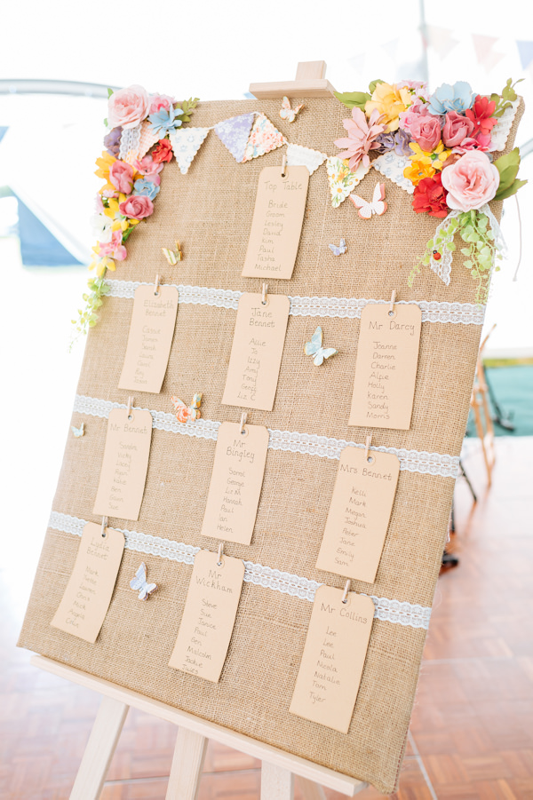 Picnic Countryside Fete Wedding Hessian Bunting Floral Butterfly Seating Plan http://www.daffodilwaves.co.uk/