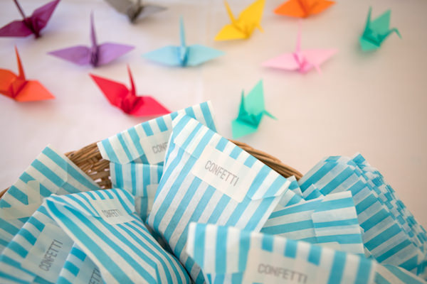 Crafty Colourful Country Wedding Confetti Stripe Bags http://matildarosephotography.com/