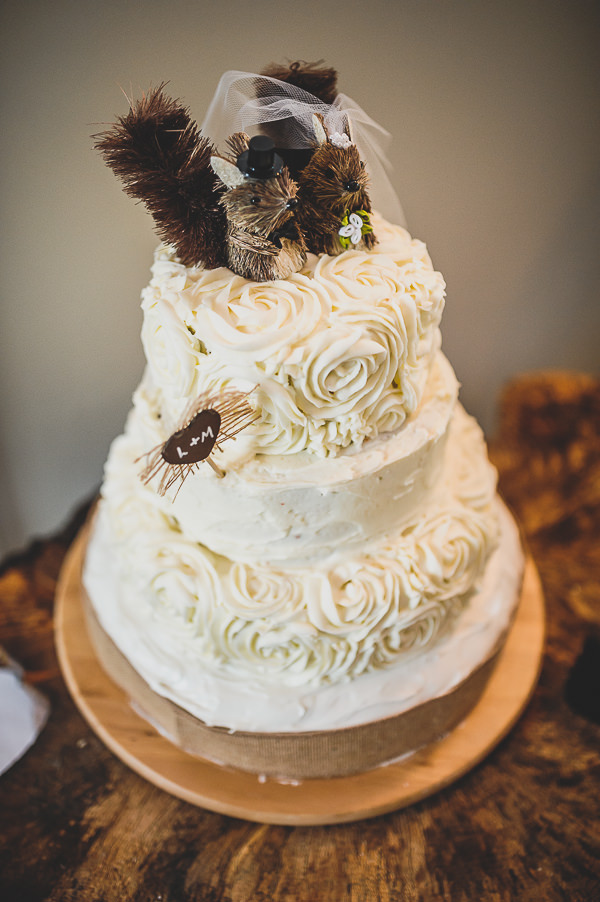 Magical Crafty Outdoorsy Village Hall Wedding Ruffled Rustic Cake Squirel Toppers  http://www.foxleyphotography.com/