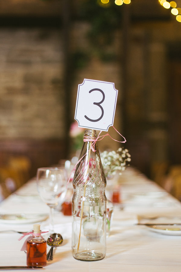 Quirky Stylish Barn Wedding Bottle Table Numbers http://www.mikeandtom.co.uk/