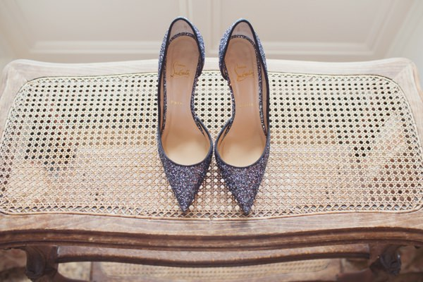 Christian Louboutin Glitter Heels Shoes Blue Bride Timeless Modern Hydrangea Wedding http://www.cottoncandyweddings.co.uk/