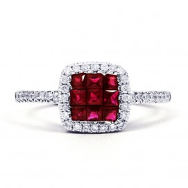 MAI 18CT WHITE GOLD RUBY AND DIAMOND HALO CLUSTER RING