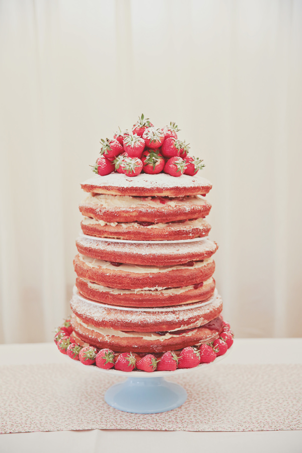 Naked Pink Sponge Cake Strawberry Pretty Marquee Wedding http://www.victoriamitchellphotography.com/