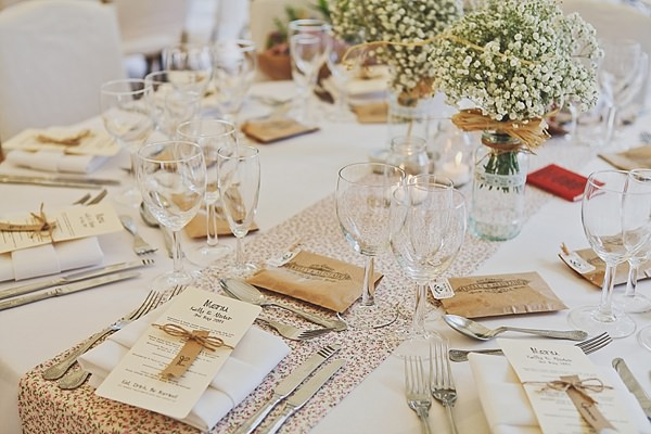 Pretty Marquee Wedding Floral Table Runner Baby Breath Flowers http://www.victoriamitchellphotography.com/