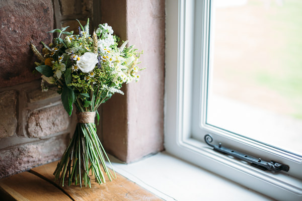 Country Rustic Tipi Wedding Bridal Bouquet daisies, wax flower, lavender, rosemary, mint, hops http://www.redonblonde.com/