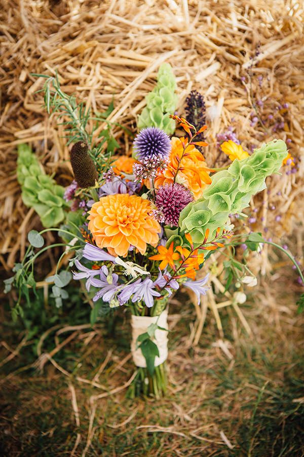 Homegrown Wild Flowers Bouquet Bridal Wedding Fun Camping Country Outdoor Wedding http://www.frecklephotography.co.uk/