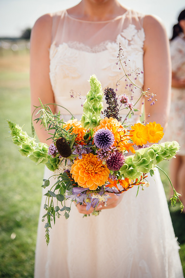 Colourful Home Grown Bridal Bouquet Fun Camping Country Outdoor Wedding http://www.frecklephotography.co.uk/
