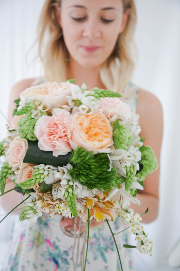 Bohemian Italy Destination Wedding Pink Peach Peony Bridal Bouquet  http://www.riabeth.com/