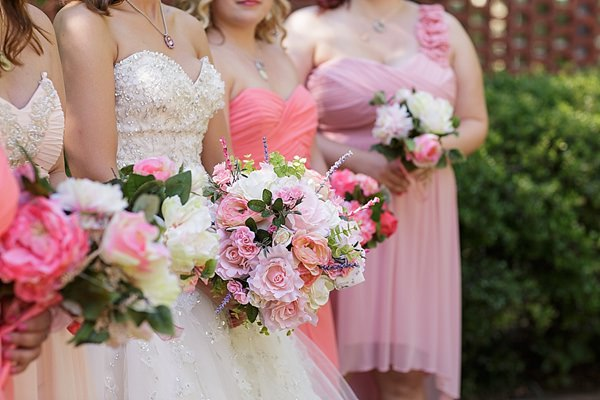 Fairytale Garden Party North Carolina Wedding Pink Bouquets Bride Bridesmaids http://www.revivalphotography.com/home/