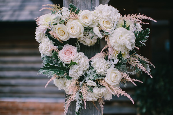 Flower Heart Wreath Stylish White DIY Floral Filled Barn Wedding http://www.chrisbarberphotography.co.uk/