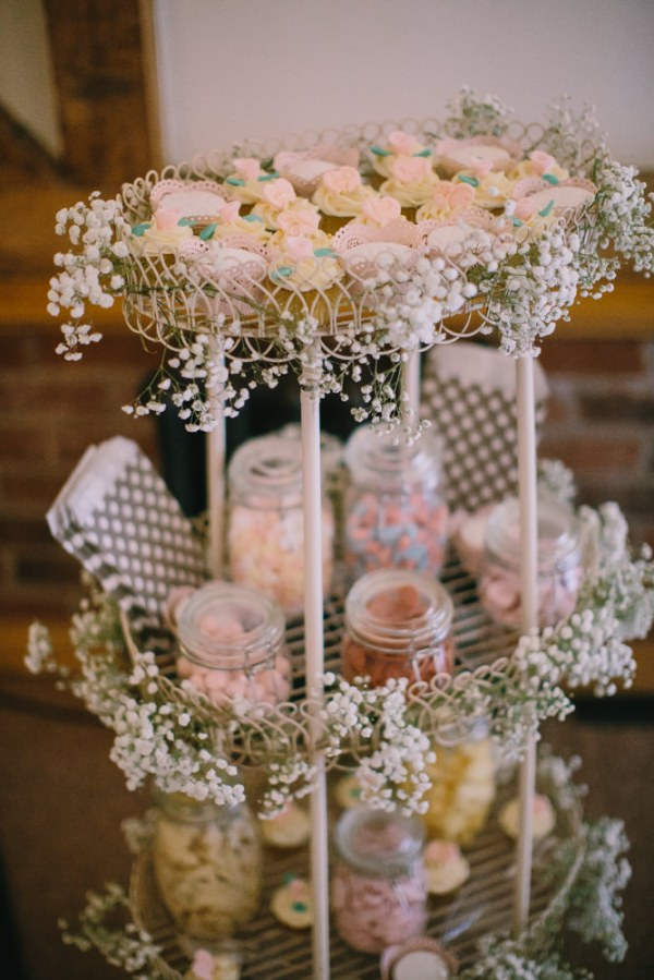 Stylish White DIY Floral Filled Barn Wedding Sweets Cupcakes  http://www.chrisbarberphotography.co.uk/