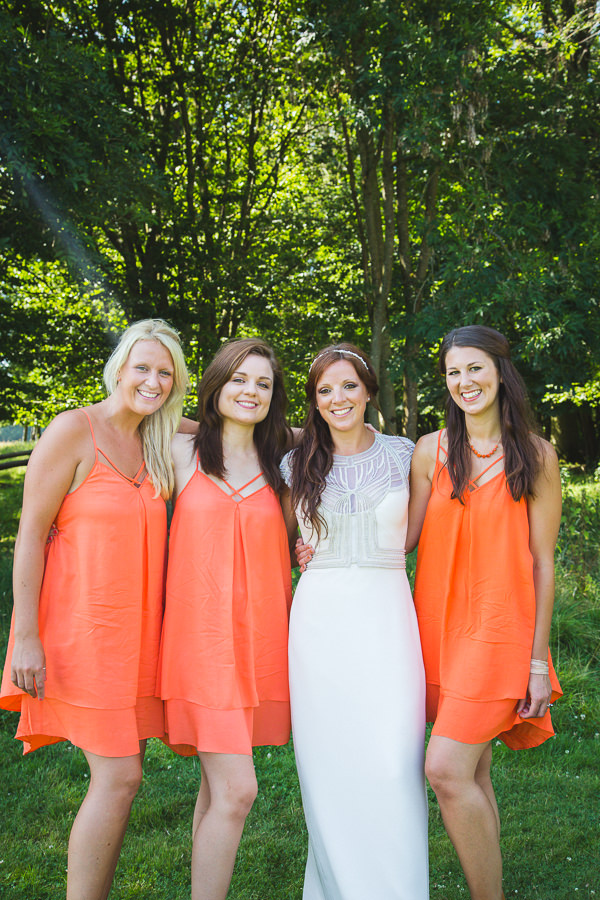 Outdoor Camping Tipi Orange Bridesmaids Wedding http://kategrayphotography.com/