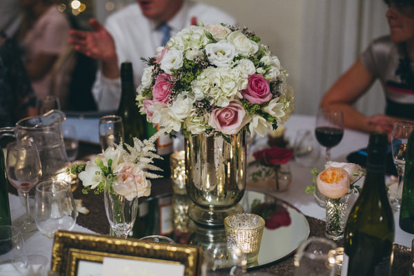 Luxe Traditional Pink Gold Wedding Flowers Mirror Centrepiece http://www.annataylorphotography.co.uk/