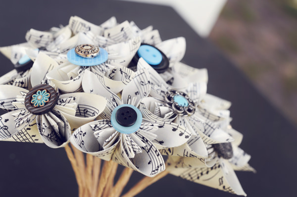 Sweet Quirky Music Wedding Music Paper Bouquet Bridal http://www.jasonwebsterphotography.com/