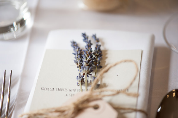 Pretty Country Garden Wedding Lavender Twine Place Setting http://fionasweddingphotography.co.uk/