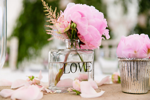 Magical Romantic Pink Green Fairy Lights Wedding LOVE Bottle Peony Astilbe Flowers Tables http://www.touchphotography.co.uk/