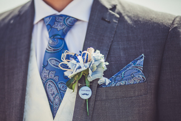 Paisley Groom Tie Buttonhole Pink & Blue Alice in Wonderland Wedding http://www.clairepenn.com/